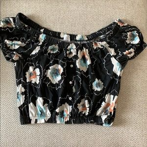 Floral/ Black Crop top